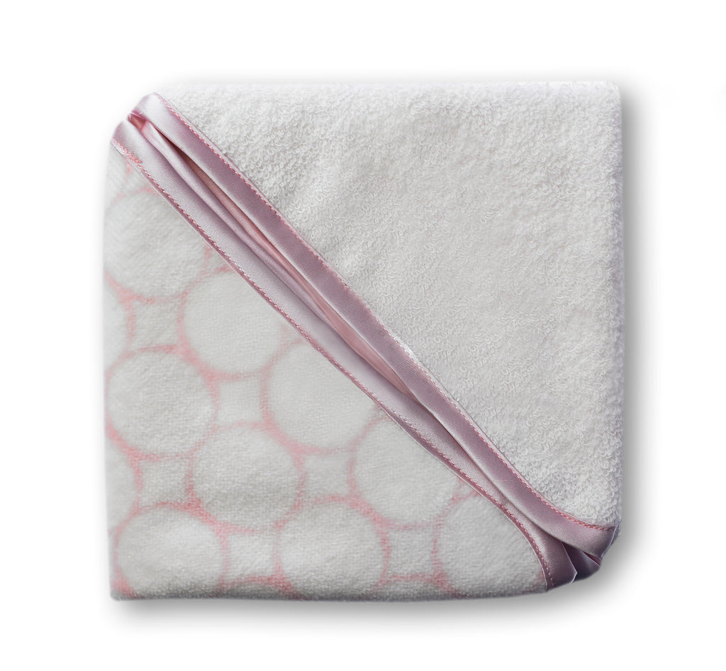 Organic Baby Washcloths - Mod Circles on Ivory, Pastel Pink