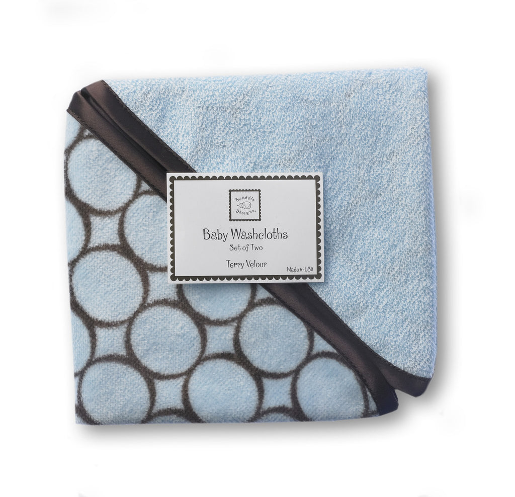 Terry Velour Baby Washcloths - Brown Mod Circles
