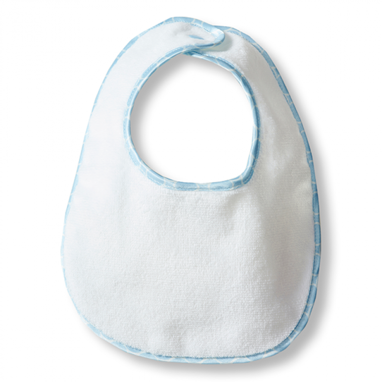 Bitty Bib - White Terry Pastel Trim