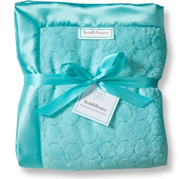 Adult Luxury Throw - Puff Circle, Turquoise - Customized