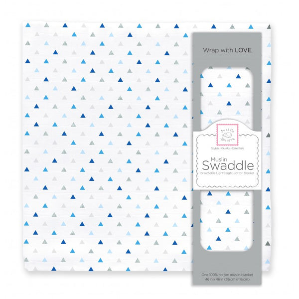 Muslin Swaddle Single - Tiny Triangles Shimmer, Blue