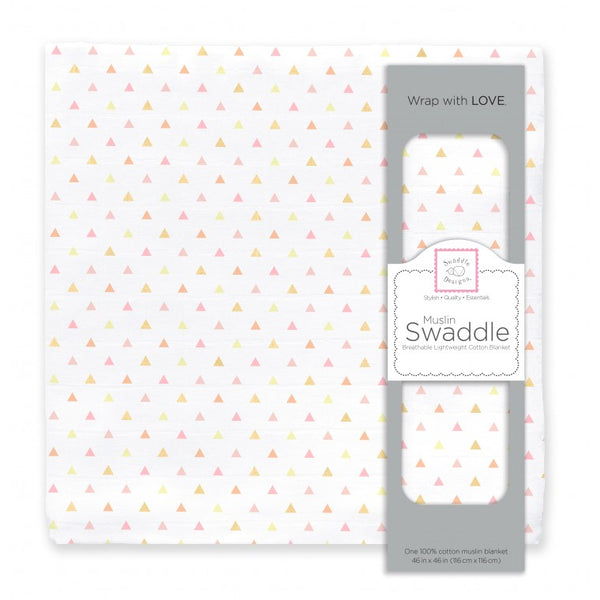 Muslin Swaddle Single - Tiny Triangles Shimmer, Pink