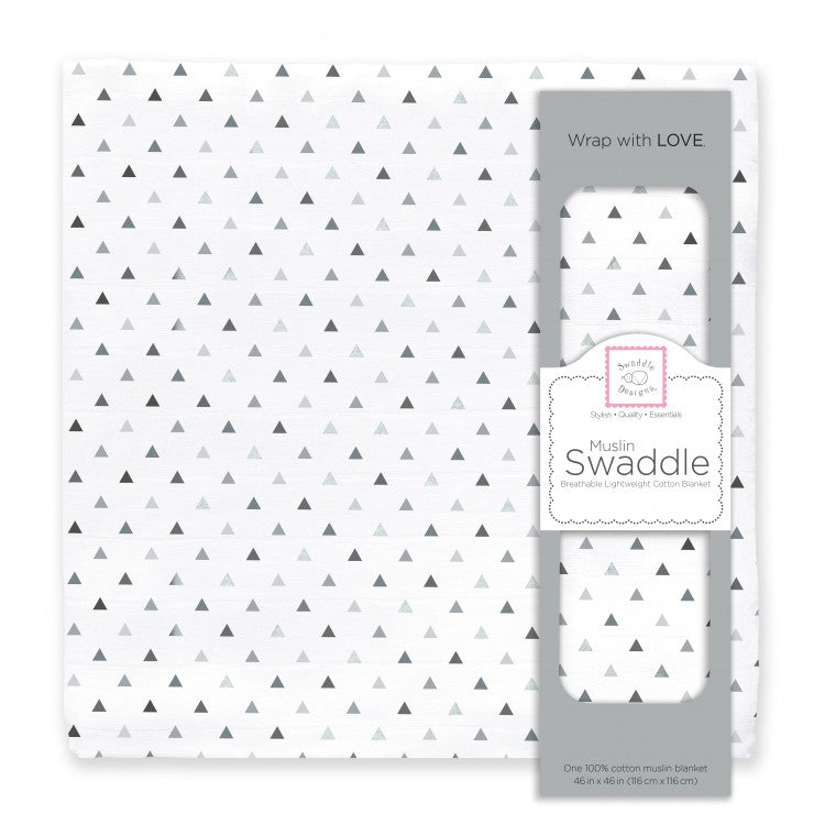Muslin Swaddle Single - Tiny Triangles Shimmer, Sterling