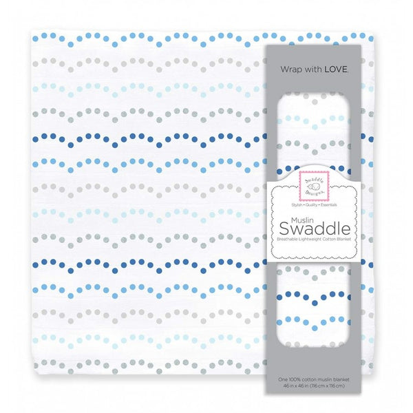 Muslin Swaddle Single - Dotted Scallops Shimmer, Blue