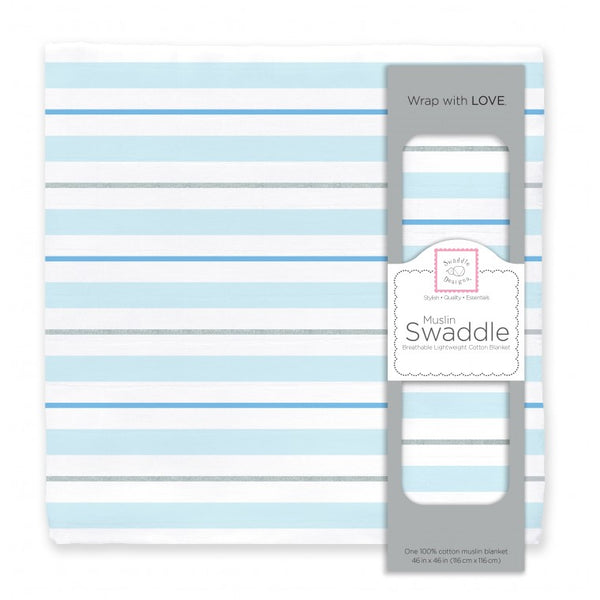 Muslin Swaddle Single - 3 Color Stripe Shimmer, Blue