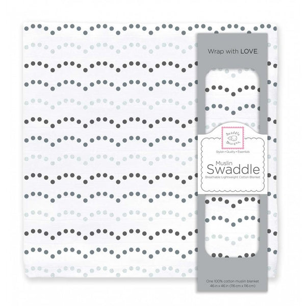 Muslin Swaddle Single - Dotted Scallops Shimmer, Sterling