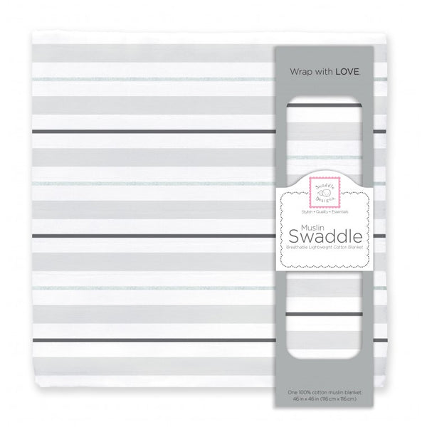 Muslin Swaddle Single - 3 Color Stripe Shimmer, Sterling