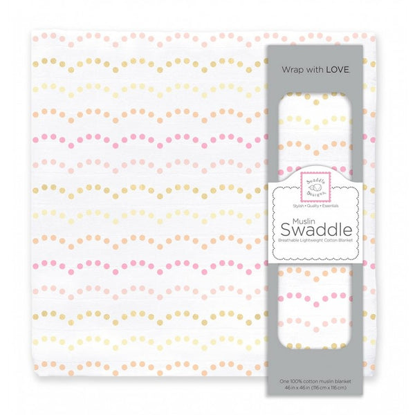 Muslin Swaddle Single - Dotted Scallops Shimmer, Pink
