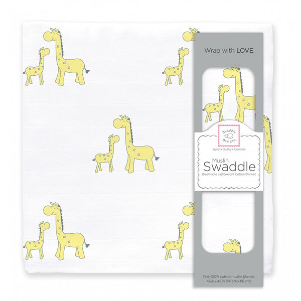 Muslin Swaddle Single - Mama Baby Giraffe, Yellow