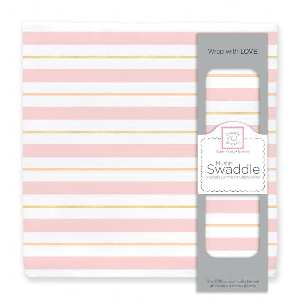Muslin Swaddle Single - 3 Color Stripe Shimmer, Pink