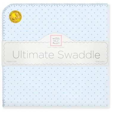 Ultimate Swaddle Blanket - Fresh Pastel Polka Dots, Pastel Blue - Customized