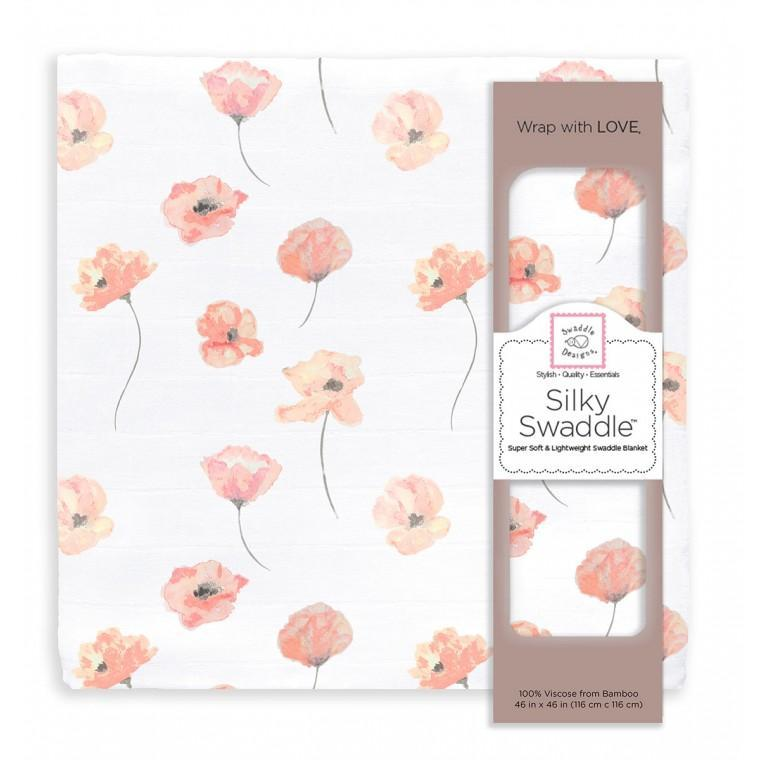 Silky Swaddle Viscose from Bamboo - Pink Poppies Painted by Lynette