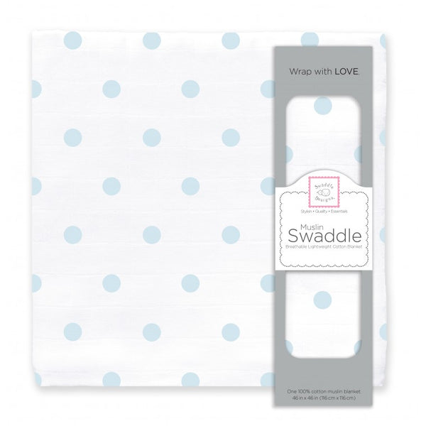 Muslin Swaddle Single - French Dots, Pastel Blue