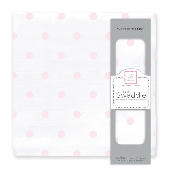 Muslin Swaddle Single - French Dots, Pastel Pink