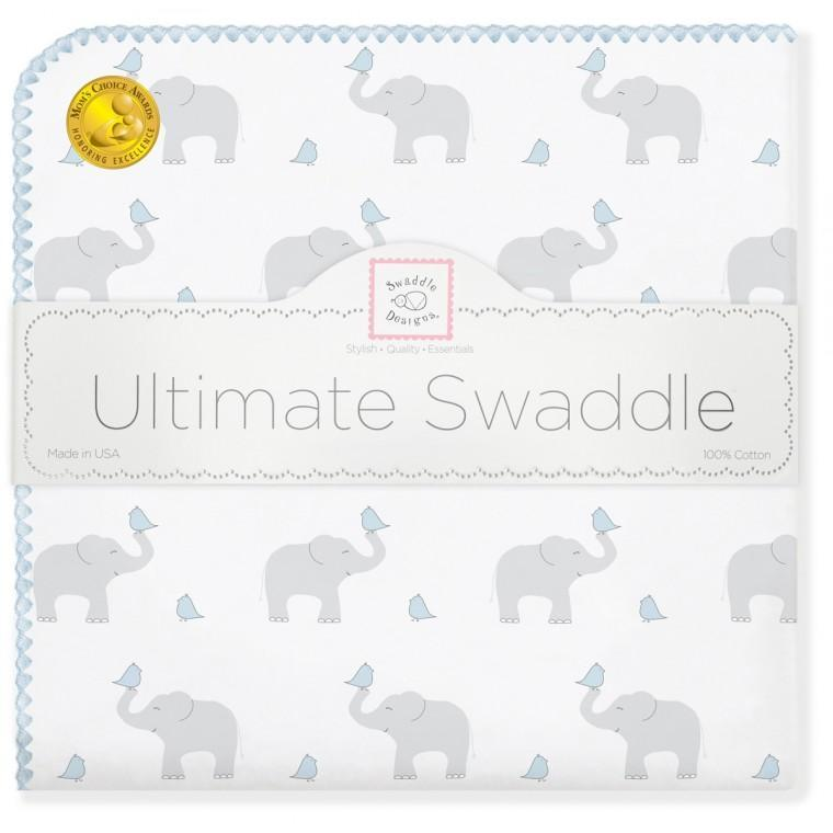 Ultimate Swaddle Blanket - Elephant & Chickies, Pastel Blue - Customized