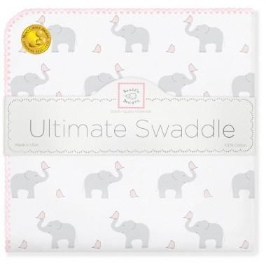 Ultimate Swaddle Blanket - Elephant & Chickies, Pastel Pink - Customized