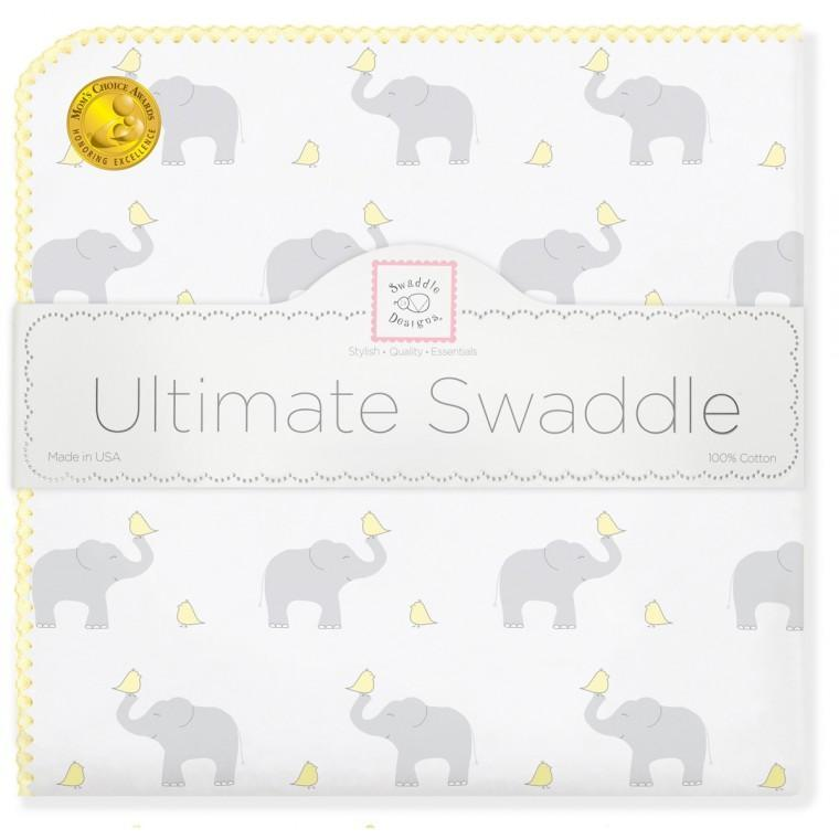 Ultimate Swaddle Blanket - Elephant & Chickies, Pastel Yellow - Customized