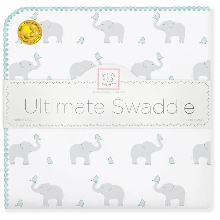 Ultimate Swaddle Blanket - Elephant & Chickies, SeaCrystal - Customized
