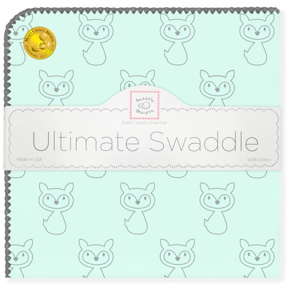 Ultimate Swaddle Blanket - Gray Fox, SeaCrystal with Gray Trim