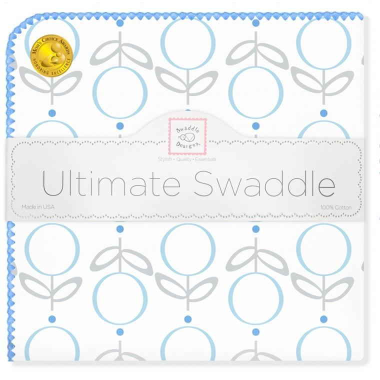 Ultimate Swaddle Blanket - Geo Floral, Blue - Customized