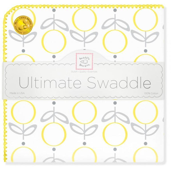 Ultimate Swaddle Blanket - Geo Floral, Yellow - Customized