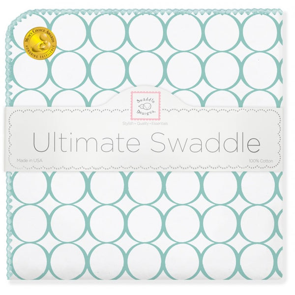 Ultimate Swaddle Blanket - Mod Circles on White, SeaCrystal