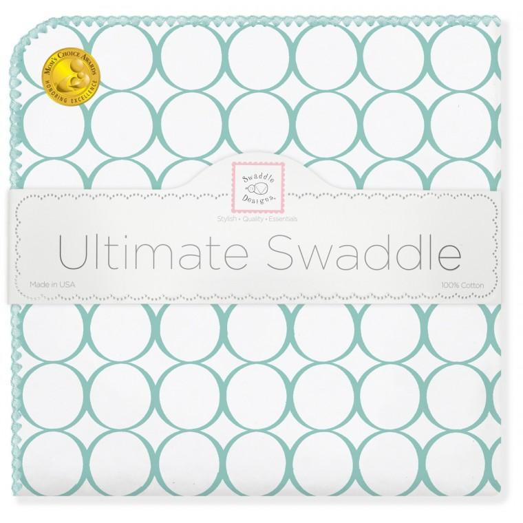 Ultimate Swaddle Blanket - Mod Circles on White, SeaCrystal - Customized