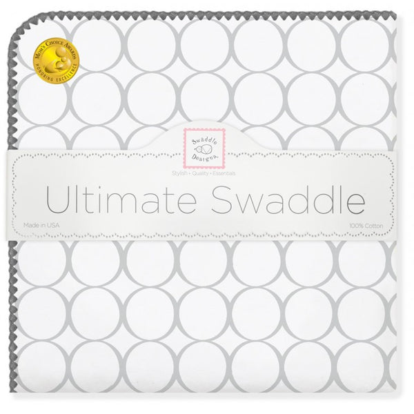 Ultimate Swaddle Blanket - Mod Circles on White, Sterling