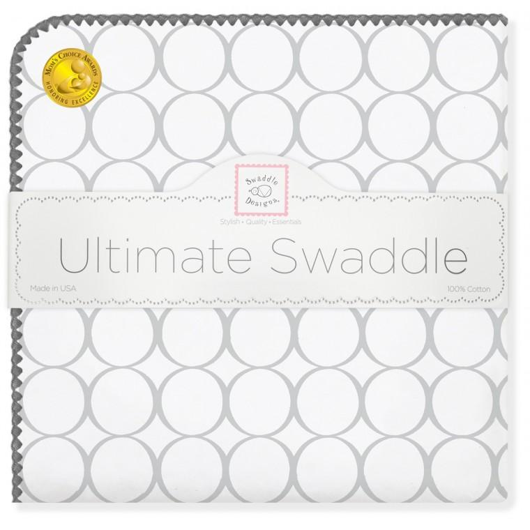 Ultimate Swaddle Blanket - Mod Circles on White, Sterling - Customized