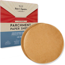 Load image into Gallery viewer, 5 Inch Rounds Unbleached Parchment Paper Sheets 120 Pack