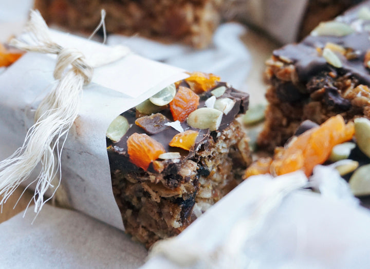 No Bake Dark Chocolate & Apricot Flapjacks