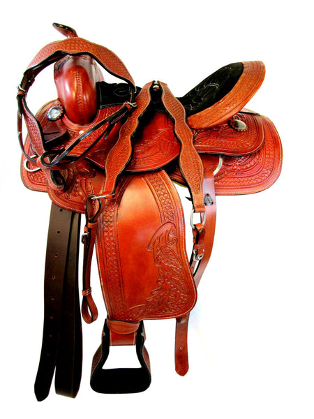Waffle Floral Tooled Pleasure Trail Barrel Racing Western Saddle 15 16-Horse Palace-Horse Palace-update alt-text with template horse-education-supplements-training-riding-ebook-horse-dvd-guide-to-success-horseman-western-cowboy-cowgirl-stories-horse-safe-health-of-horse-breeding-horse-exercice-unicorn-stories