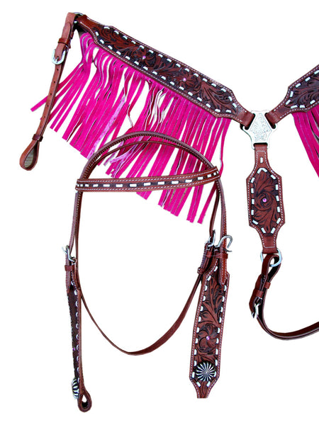 Western Headstall Breast Collar Pink Fringe Buck stitch Leather Horse-Horse Palace-Horse Palace-update alt-text with template horse-education-supplements-training-riding-ebook-horse-dvd-guide-to-success-horseman-western-cowboy-cowgirl-stories-horse-safe-health-of-horse-breeding-horse-exercice-unicorn-stories