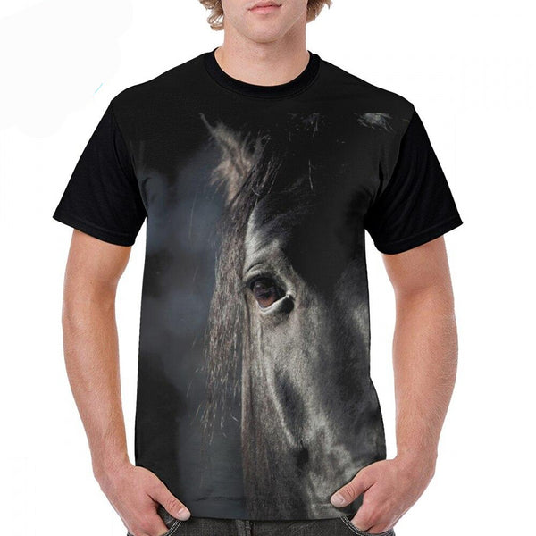 Printed Dark Horse T-shirt Men-Horse Palace-Horse Palace-update alt-text with template horse-education-supplements-training-riding-ebook-horse-dvd-guide-to-success-horseman-western-cowboy-cowgirl-stories-horse-safe-health-of-horse-breeding-horse-exercice-unicorn-stories