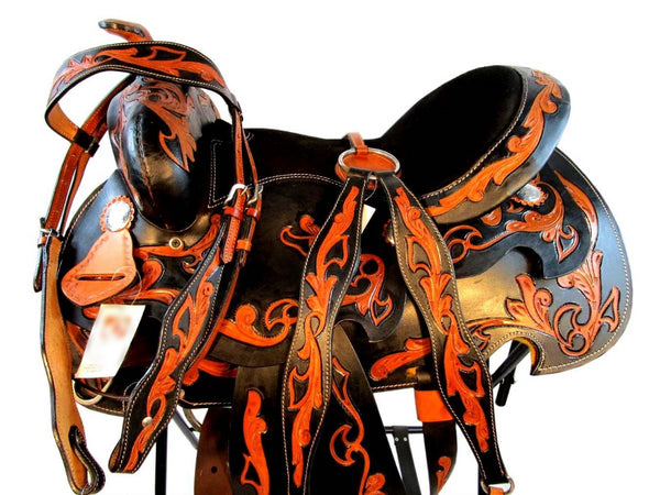 14 15 16 Tooled Leather Trail Show Black Western Saddle Tack Set-Horse Palace-Horse Palace-update alt-text with template horse-education-supplements-training-riding-ebook-horse-dvd-guide-to-success-horseman-western-cowboy-cowgirl-stories-horse-safe-health-of-horse-breeding-horse-exercice-unicorn-stories
