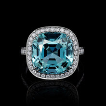 Load image into Gallery viewer, Aquamarine set in Platinum & Accented with Diamonds