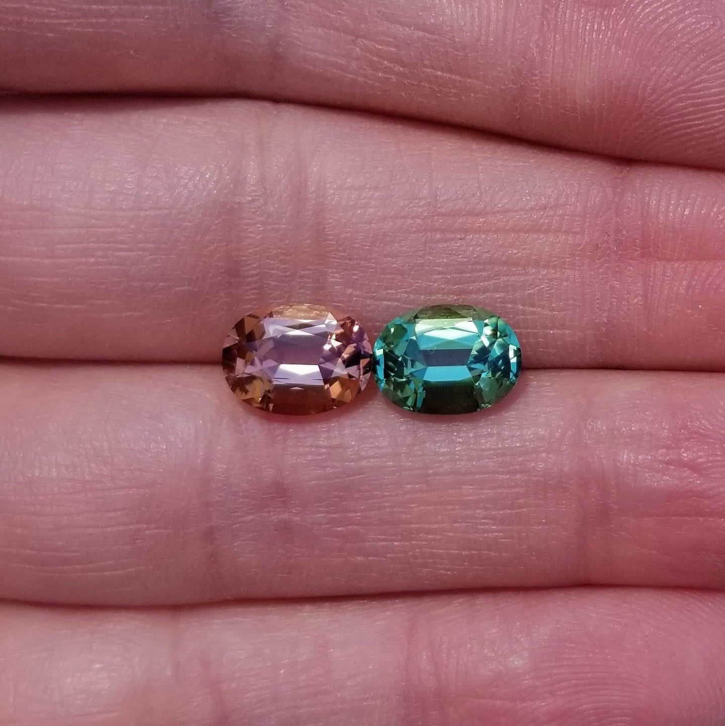 5.25ctw Peach/Blue-Green Tourmaline Matched Pair