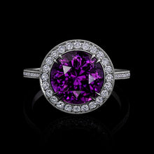 Load image into Gallery viewer, Puple Spinel Ring Accented in Platinum and Diamonds