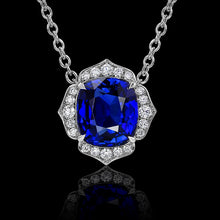 Load image into Gallery viewer, Blue Sapphire Flower Pendant Set in Platinum & Accented with Diamonds