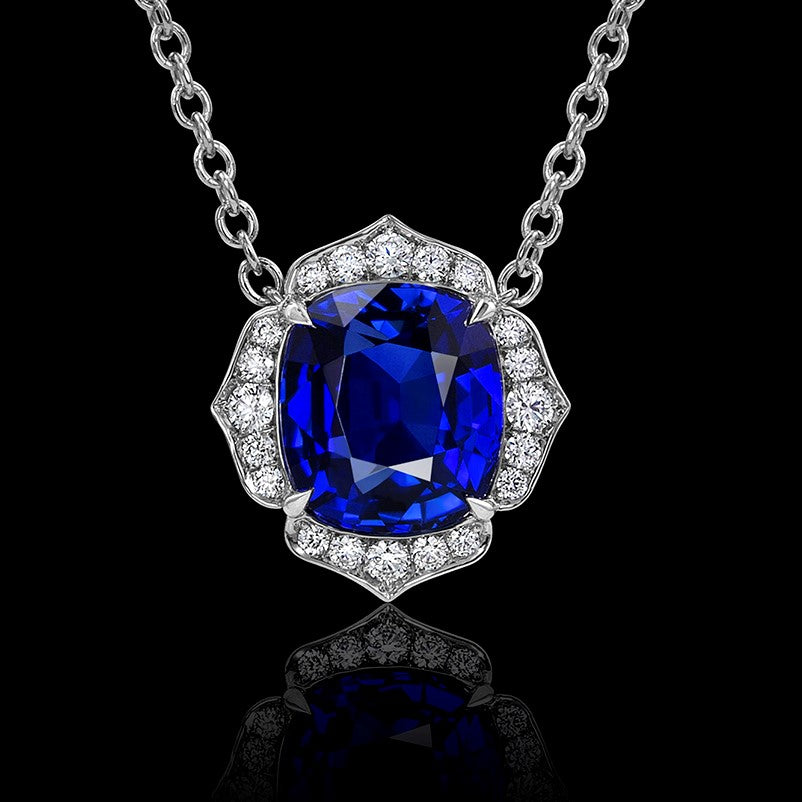 Blue Sapphire Flower Pendant Set in Platinum & Accented with Diamonds