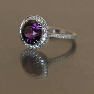 Puple Spinel Ring Accented in Platinum and Diamonds
