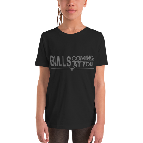 Bulls Coming At You - Youth Girl Short Sleeve T-Shirt