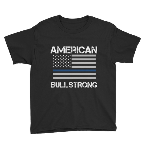 American Bullstrong - Thin Blue Line - Youth Boy Short Sleeve T-Shirt