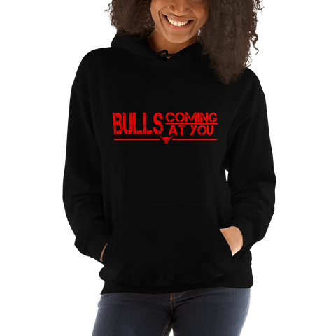 Bulls Coming At You - Hooded Sweatshirt (Red Lettering)