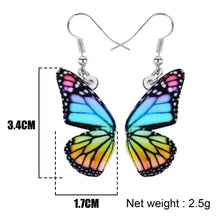 Load image into Gallery viewer, Rainbow monarch butterfly earrings