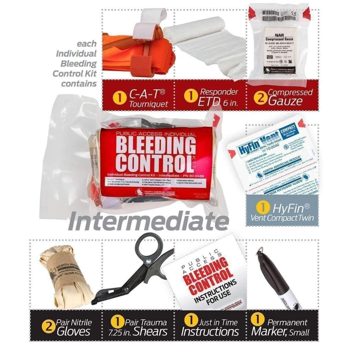 North American Rescue,Public Access Bleeding Control 5 Pack,medic-packs.