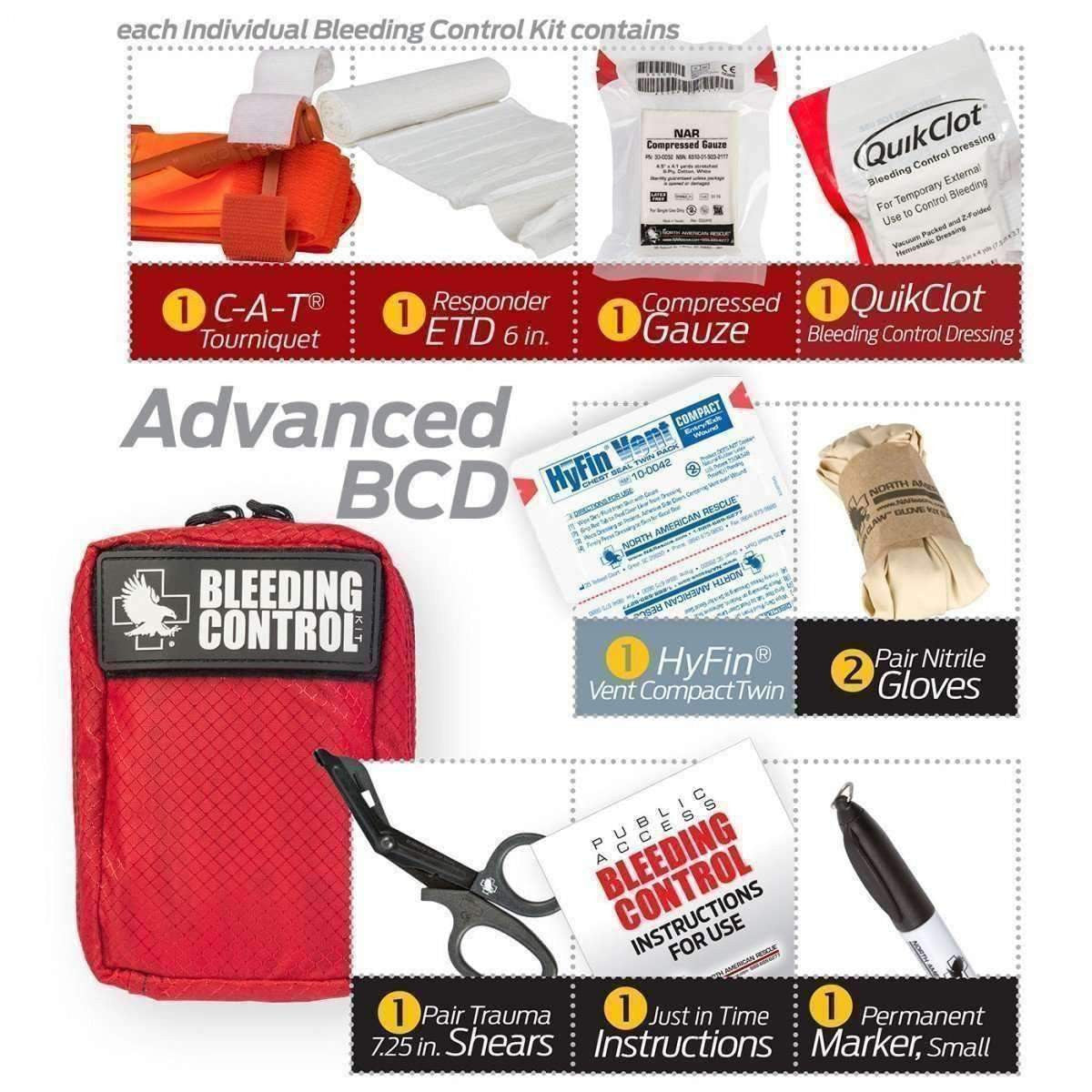 North American Rescue,Public Access Bleeding Control 8 Pack - Nylon,medic-packs.