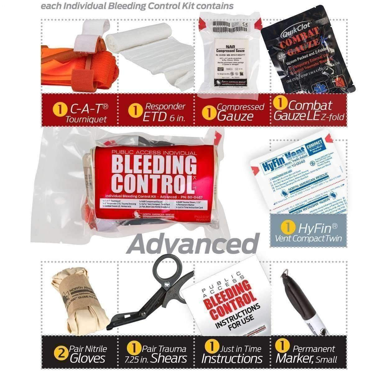 North American Rescue,Public Access Bleeding Control 8 Pack - Vacuum Sealed,medic-packs.
