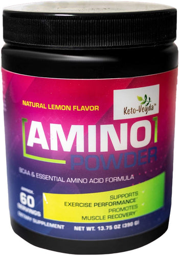 Keto-Veyda - Amino Powder, BCAA & Essential Amino Acid Formula - Natural Lemon Flavor - 13.75 Oz (60 Servings)