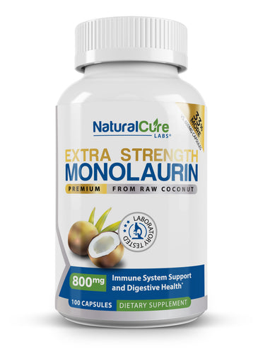 Natural Cure Labs - Extra Strength Monolaurin - 800mg - 100 Capsules (33% More)